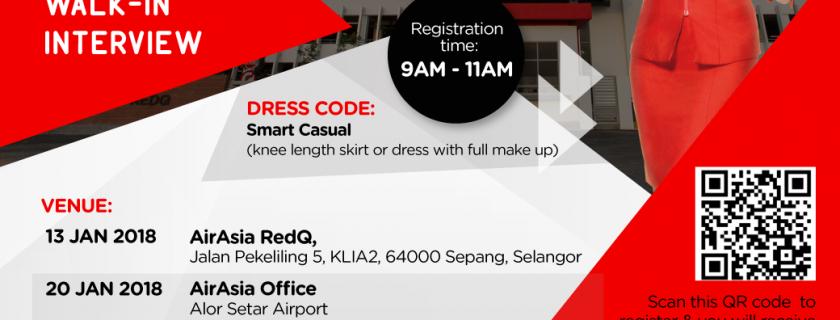 AirAsia Cabin Crew Recruitment – Jan 2018