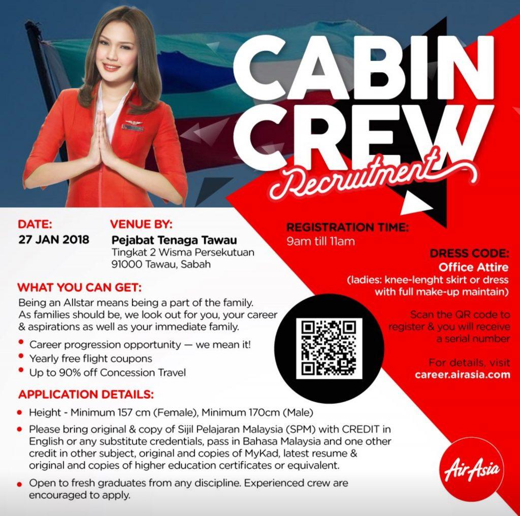 airasia cabin crew recruitment-jan 2018 (tawau) – essential advisory
