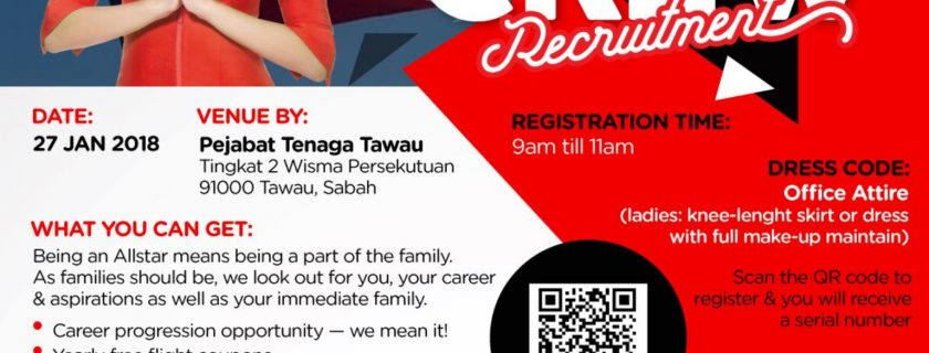 AirAsia Cabin Crew Recruitment-Jan 2018 (Tawau)