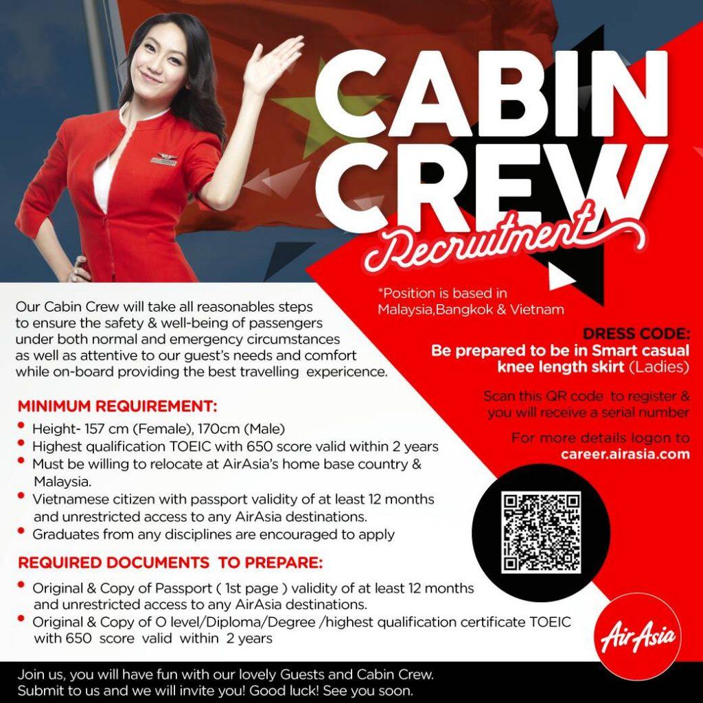 airasia cabin crew recruitment – jan 2018 hanoi, vietnam – essential