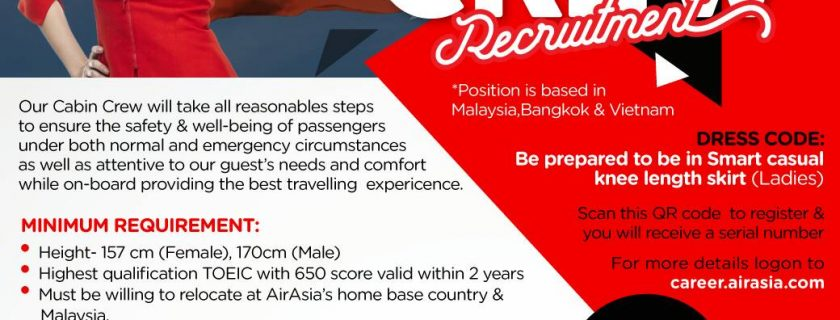 AirAsia Cabin Crew Recruitment – Jan 2018 Hanoi, Vietnam