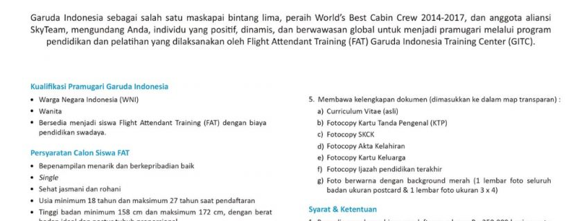 Garuda Indonesia Flight Stewardess Recruitment – Feb 2018