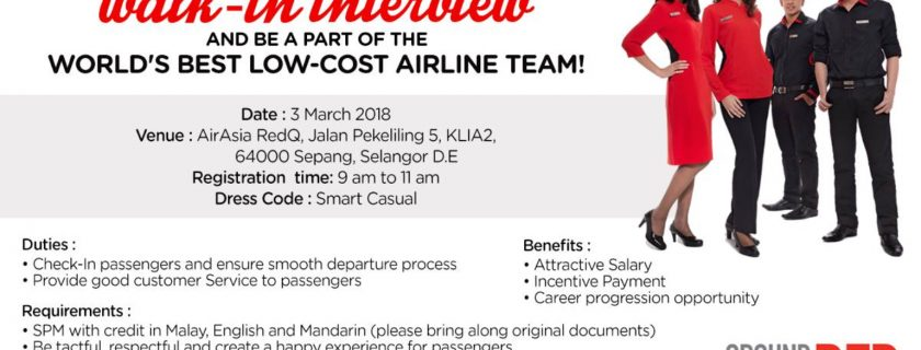 AirAsia Ground Staff Recruitment-Mar2018