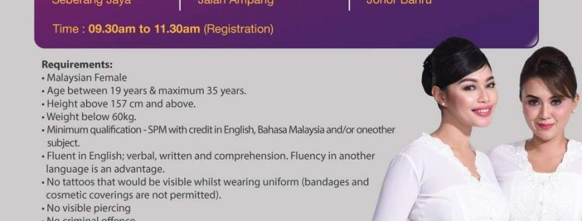 Malindo Air Flight Stewardess Recruitment – Apr & May 2018