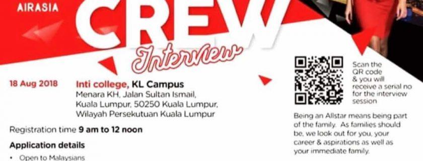 AirAsia Flight Attendant Recruitment – Aug 2018