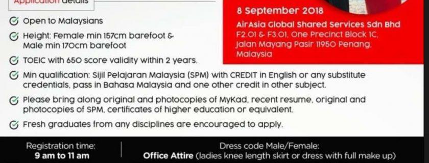 AirAsia Cabin Crew Recruitment – Sep 2018
