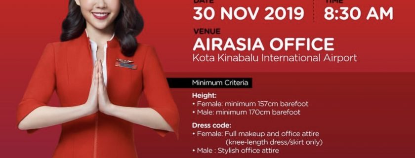 AirAsia Flight Attendant Recruitment-Nov 2019 (BKI)