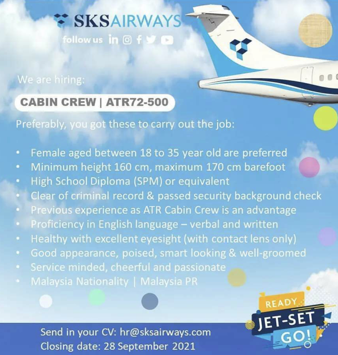SKS Airways Flight Stewardess Recruitment-Sep 2021