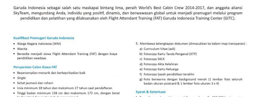 Garuda Indonesia Flight Stewardess Recruitment – Feb 2018