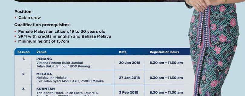 Malaysia Airlines Cabin Crew Recruitment – Jan 2018