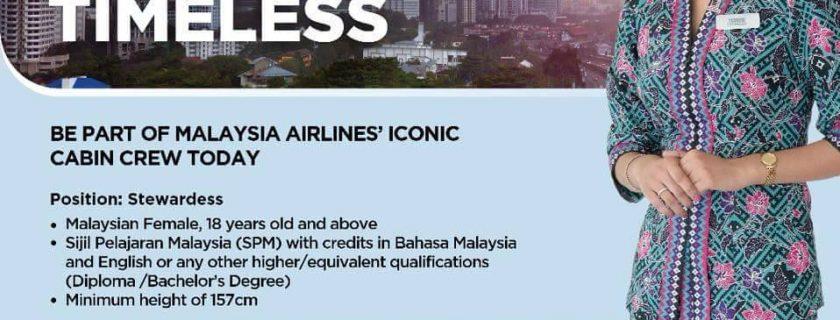 Malaysia Airlines Flight Stewardess Recruitment – Mar 2018