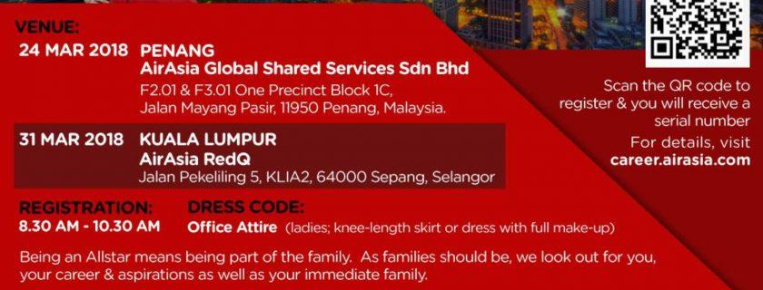 AirAsia Cabin Crew Recruitment – Mac 2018