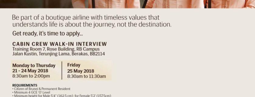 Royal Brunei Airlines Flight Attendant Recruitment – May 2018