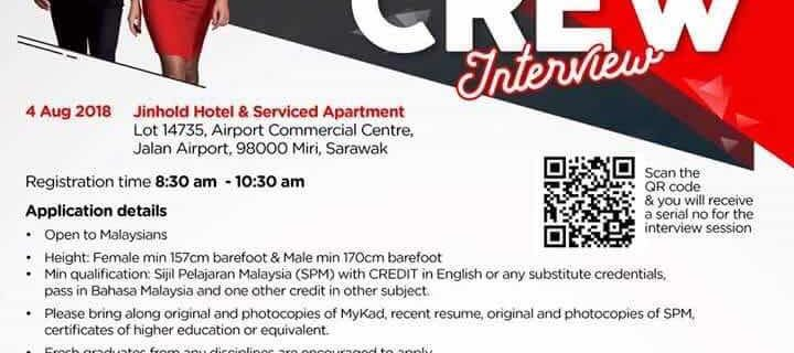 AirAsia Flight Attendant Recruitment – Aug 2018 (MYY)