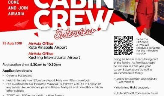 AirAsia Flight Attendant Recruitment – Aug 2018 Sarawak