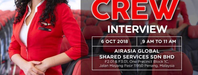 AirAsia Flight Attendant Recruitment – Oct 2018 PEN