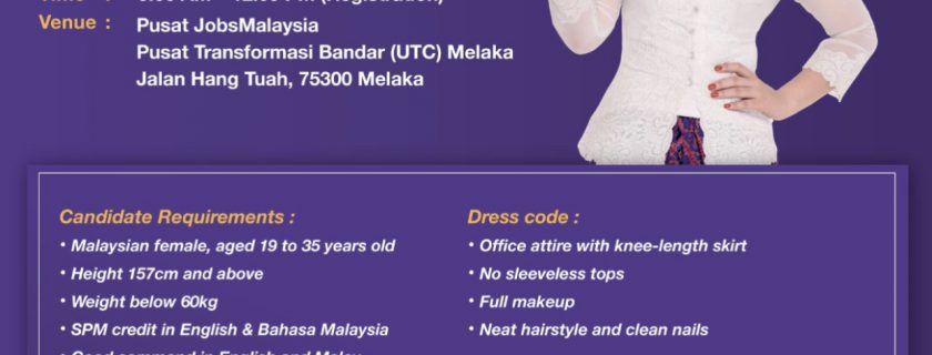 Malindo Air Flight Stewardess Recruitment-Apr 2019
