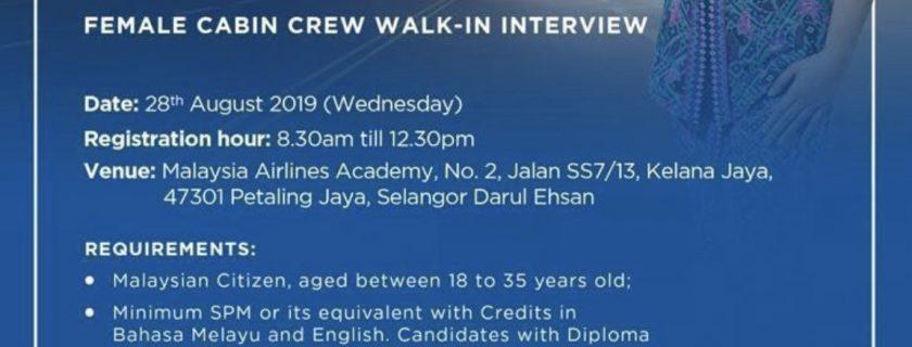 Malaysia Airlines Flight Stewardess Recruitment-Aug 2019(KUL)