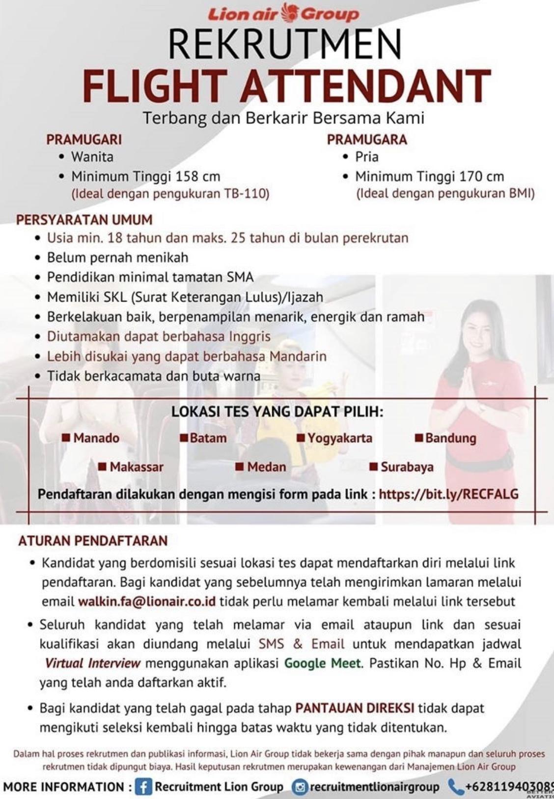 Lion Air Flight Attendant Recruitment-Jul 2020