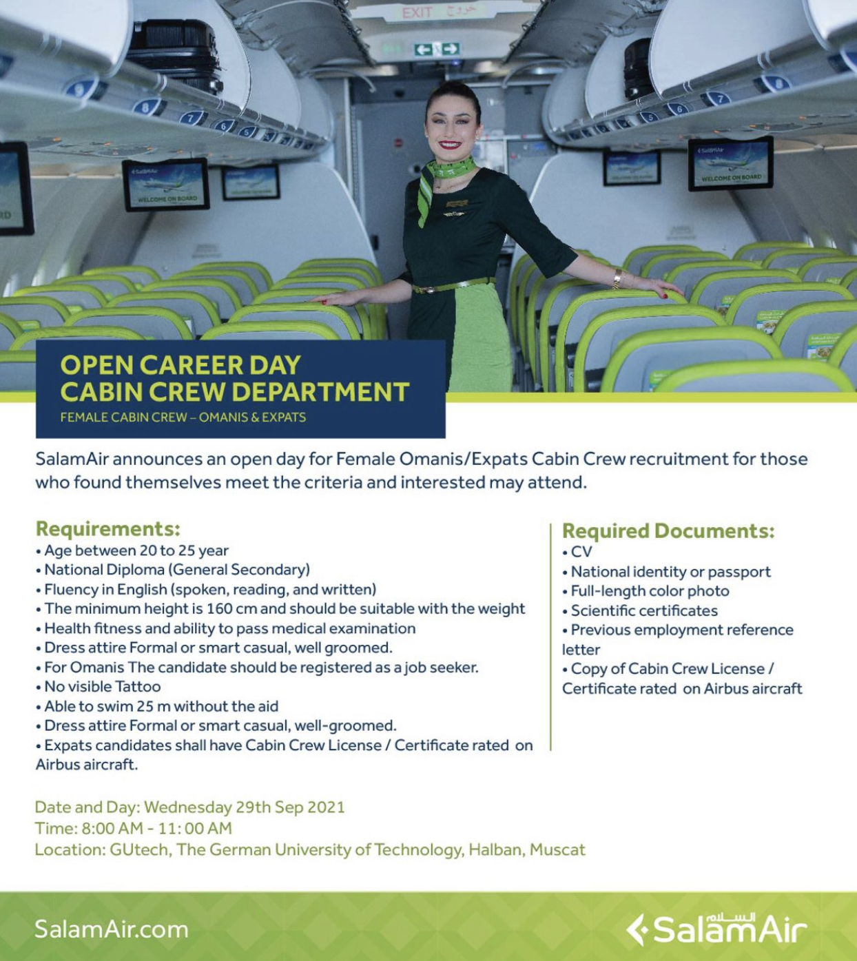 Salam Air Cabin Crew Recruitment -Sep 2021